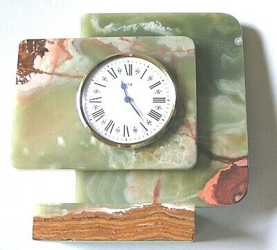 Ritz Italora Italy Green Onyx Marble Mantel Desk Clock Runs on Battery Org Owner