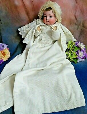 ANTIQUE Victorian LONG CHRISTENING COAT child baby DOLL cotton SILK embroidery