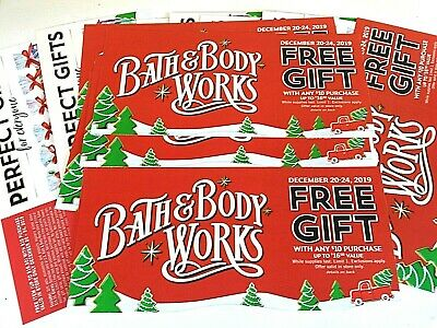 (10) Bath and Body Works COUPONS No Charge Up to $16.50 item w/any $10 BUY