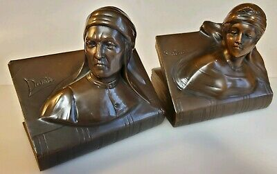 Vintage Collectible Dante And Beatrice Bronze Bookends