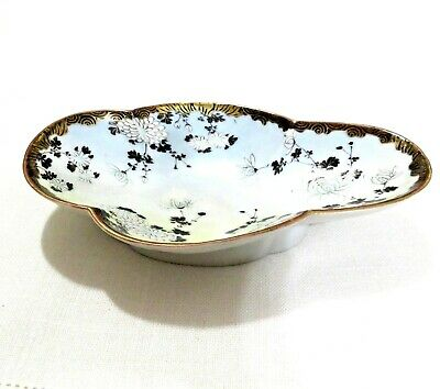 Antique Japanese Hand Painted Oval Porcelain Plate or Serving Bowl 8.5""