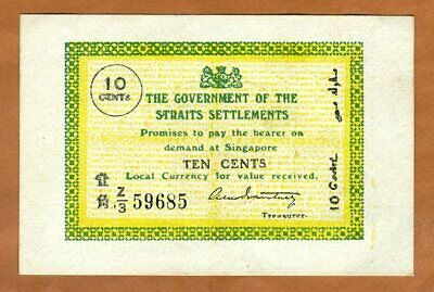Straits Settlements, 10 cents, 1919, P-6c. Ch. UNC > 100 years old