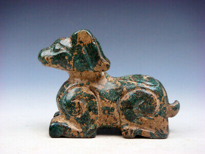Old Nephrite Jade Stone Carved Sculpture Ancient Seated Foo Dog Lion #10061906