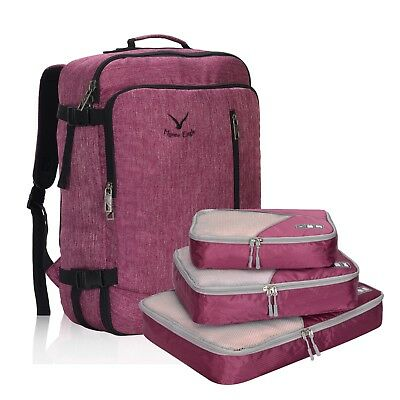 Hynes Eagle 20 Inch Red Travel Luggage Carry-on Convertible Backpack Cubes Set