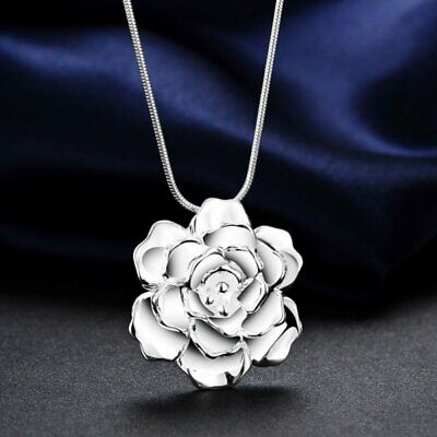 Charm Silver Plated Flower Fashion pendant women Lady Necklace Jewellery Party
