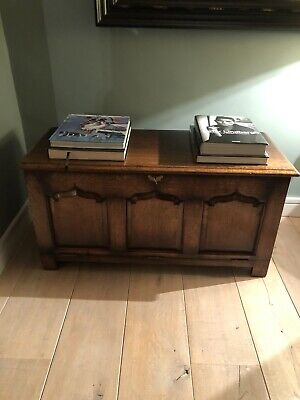 Antique English Oak Titchmarsh And Goodwin Wood Chest Coffer Blanket Chest Trunk