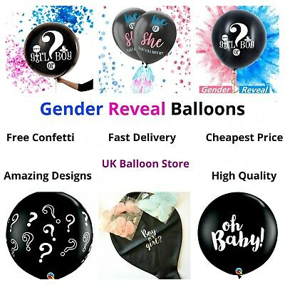 Gender Reveal Balloon - Pink Blue - Boy Girl - Confetti - Baby Shower Party - UK