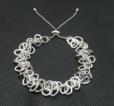 Adjustable Byzantine Bar Bracelet With Snake Chain Real 925 Sterling Silver QVC