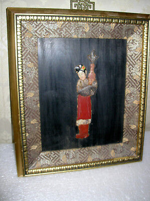 #2 Of 2  Antique Chinese Stone Carved  Inlaid Ladies Framed Qing