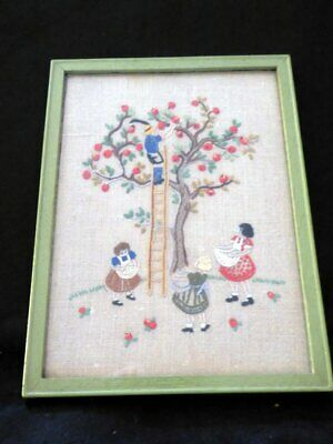 Delightful Antique Embroidered Picture of Children Collecting Apples
