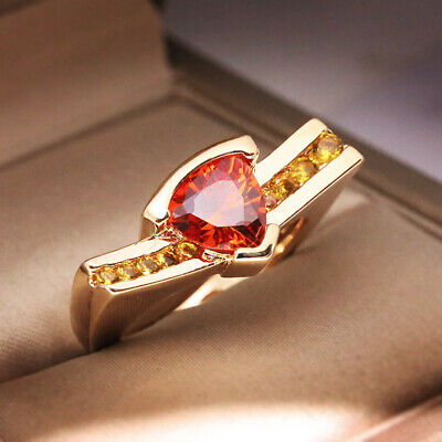 Luxurious 18K Yellow Gold Plated Ruby Citrine Ring Wedding Jewelry Gift Sz6-10