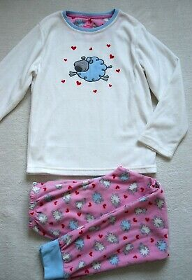 PRIMARK Girls Warm Fleece Pyjama Set Cute Sheep & Hearts 8-9 YRS 134cm