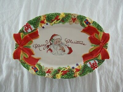 Fitz and Floyd Southern Christmas Classic Santa Cookie Platter 2012