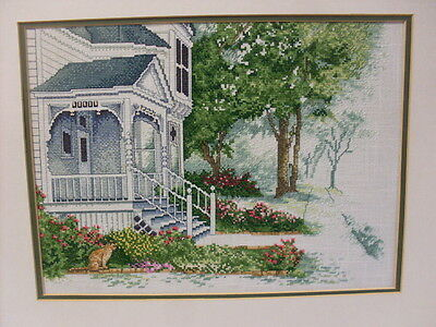 Cross Stitch Completed Colonial New England Style House