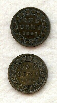 Canada  ~ 1891 ~ Large Cent Lot ~ Vf ~ 2 Coins