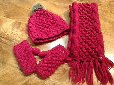 Girls Ted Baker Pink Scarf, Gloves And Hat Set 7-10 Years