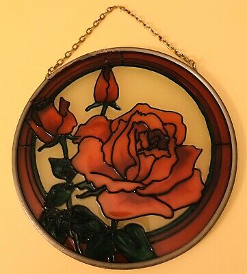 Stained Glass Leaded Rose Window Glass Hanging Sun Catcher with Chain