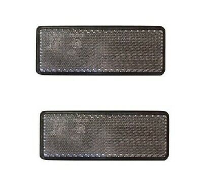 2 x Rectangle CLEAR Reflectors Stick On Adhesive trailer camper lorry van truck