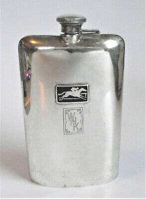 "LARGE Antique 7"" STERLING SILVER ENAMEL JOCKEY RACE HORSE Deco POCKET HIP FLASK"
