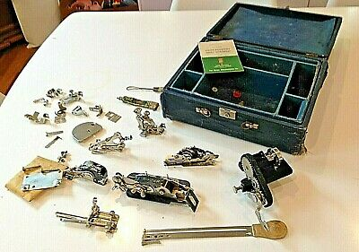 Vintage Large Lot of Singer Sewing Machine Attachments 1940s IN Original Case NR