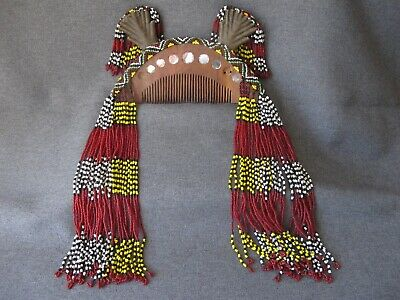 Old T'Boli Mindanao Philippines Comb Wood, brass wire , mirrors & glass beads