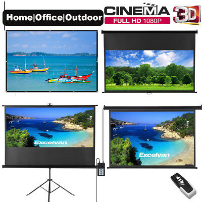 "100"" Projector Screen Electric HD TV Motorised/Manual Home Movie Theatre 16:9"