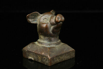 China Old Collectible Hand Engraving Bronze Pig Statue Seal Desktop Decoration