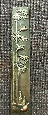 Antique Japanese Kozuka with some traces of gilding and birds & bamboo