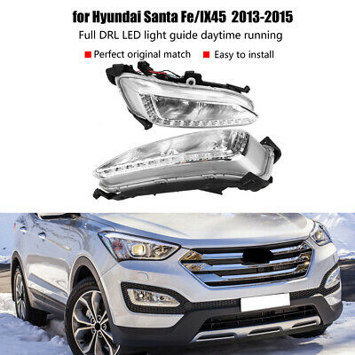 2Pcs LED Daytime Running Light DRL Fog Lamp For Hyundai IX45 Santa Fe 13-15 UK