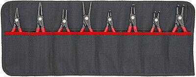 Knipex 00 19 58 V02 Set of Circlip Pliers 8 Parts Precision, Black/Red/Silver,
