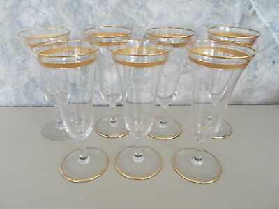 """Set 7 Antique Fluted Champagne Crystal Glasses Gold Bands 6 3/8"""" Over 125 Years"""