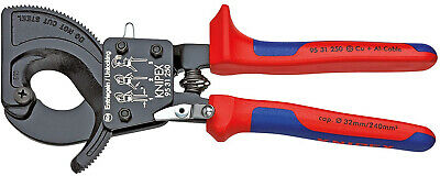 KNIPEX 95 31 250 Cable Cutter (ratchet action) with multi-component grips 250 mm