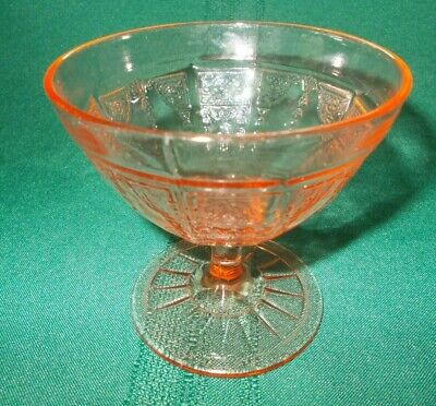 Vint. Anchor Hocking PINK PRINCESS Depression Glass Footed Sherbet Dessert Cup
