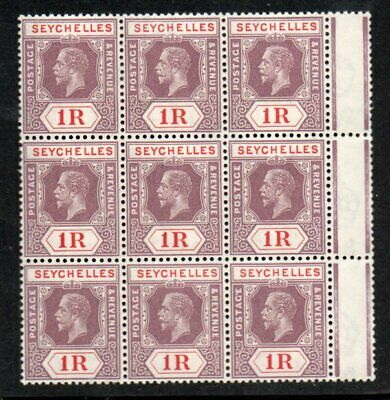 SEYCHELLES KGV 1R  *** SUPERB M N H *** BLOCK OF NINE cat. £108 ++