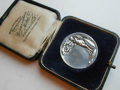 Super Antique Solid Silver Art Nouveau Naked Boxed Medal British French