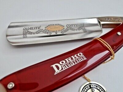 "GOLDEN BEAUTY!! BLOODY RED DORKO Straight Razor, Coupe Chou 7/8"" Solingen LOOK"