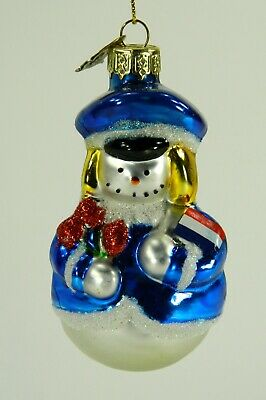 Dutch Snowman Christmas Ornament, Netherlands Flag, Blown Glass,Thomas Pacconi