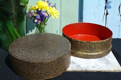 Antique Victorian Lacquer Hat Storage Box Floral Gold Paisley c.1880's STUNNING