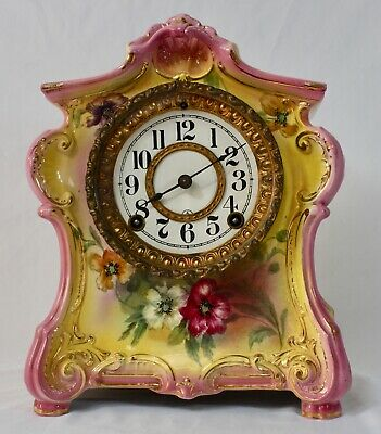 Antique ANSONIA ROYAL BONN Porcelain 8-Day Mantle Clock 1882