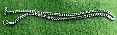 """VINTAGE 20"""" SOLID SILVER CHAIN NECKLACE WITH 'JEWELLED' T BAR CONNECTOR - 1.55oz"""