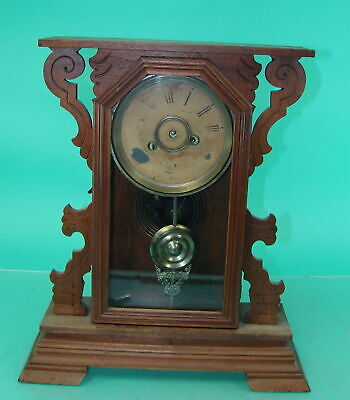 Vtg Antique Ansonia Clock Co Ornate Filigree Mantle Clock Pendulum 19th Century