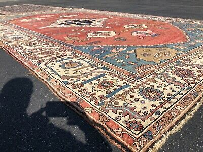 Auth: 19th C Stellar Antique Serapee Rug Trans Caucasian Masterpiece   11.3x18.6