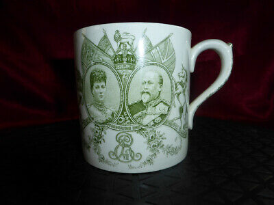 Antique KING EDWARD VII & QUEEN ALEXANDRA Coronation Mug Cup 1902 Royal Doulton