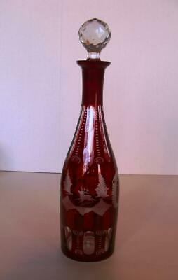 Vintage Czech Bohemian Ruby Red Cut to Clear Art Glass Etched Decanter Etch Deer