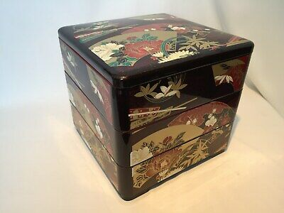 Japanese  Vintage Lacquer ware FOOD BOXES Jubako Fan Three-steps Tea Ceremony