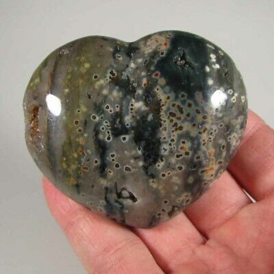 "2.8"" SEA JASPER HEART Polished Palm Stone Healing Reiki - Madagascar"