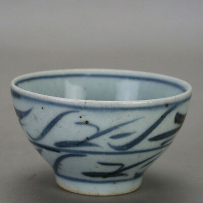 Chinese old hand-carved porcelain Blue and white pattern Kung fu tea cups