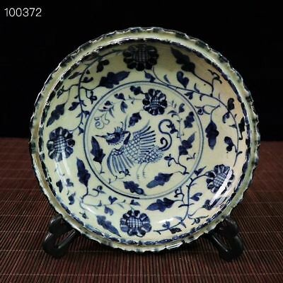 Huge Antique Chinese Blue&White Porcelain Hand-painted *Phoenix* bowl