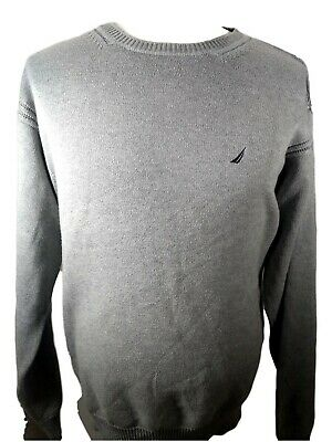 NAUTICA FRONT LOGO CREW-NECK CASUAL SWEATER Long Sleeve Gray MENS 2XL-size