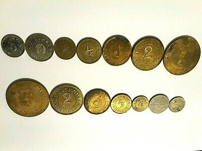 7 RILES HACIENDA CAFE PUERTO RICO Coffee PLANTATION token lot set Ficha ALMUD
